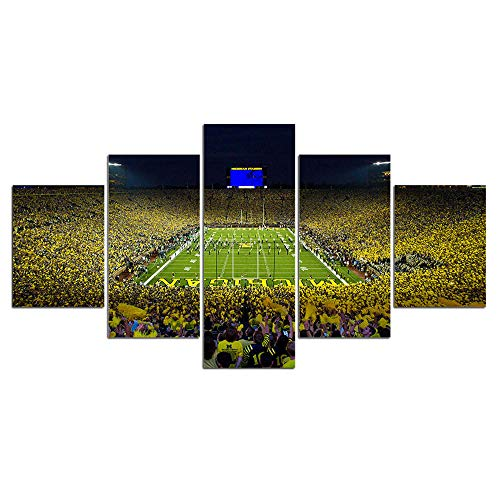 HOPE003 Canvas Painting 5 Framed University of Michigan Football Big House Stadium Picture 5 Pcs Canvas Painting Posters Prints Field Sport Pictures Home Decor
