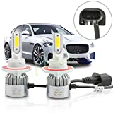 PLDDE 2pcs 9008/H13 6000K Cool White 7200LM All-in-One LED COB Bulbs Conversion Kit For Headlights High Low Dual Beam DC 12V/24V IP67 Waterproof Pack of 2 Driver+Passenger Replacement