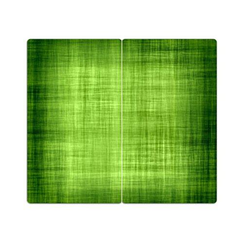 DEKOGLAS Herdabdeckplatten Set inkl. Noppen aus Glas 'Muster', Herd Ceranfeld Abdeckung, 2-teilig universal 2x 52x30 cm