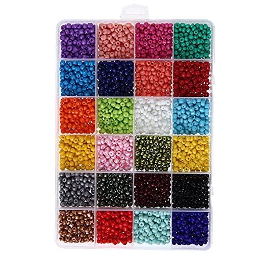 BOSAIYA SL Conjunto de Cuentas de Vidrio de Pintura de 24 Grados DIY Material de la Pulsera de la Pulsera de la joyería Hecha a Mano 24 Conjunto de combinación de Colores T823 (Color : 4mm 4000pcs)