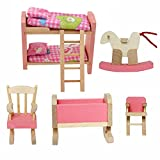 Cisixin Jouet en Bois Meubles pour Maison de Poupée - Ensemble de Mobiliers de Chambre des Enfants Miniature