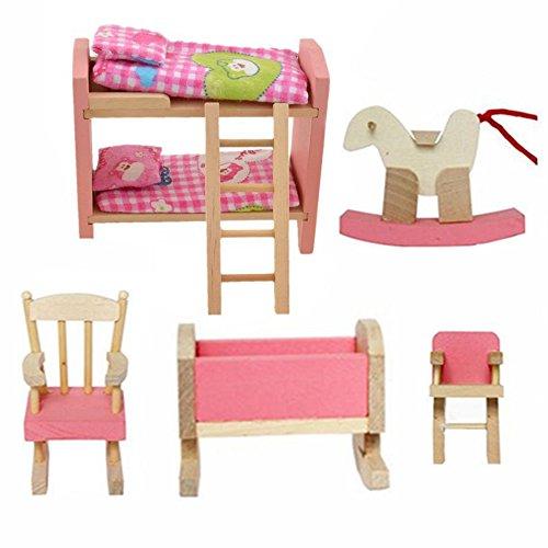 Cisixin Los niños Juguetes casa de habitación Conjunto de habitacion Mueble de Madera para Juguete Ninos