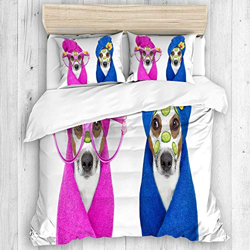 Aliciga bedding-Duvet Cover Set,Jack Russell Couple of Dogs Relaxing Beauty Mask in Spa Wellness Center Moisturizing Cream and Cucumber,Microfibre 135x200 with 2 Pillowcase 50x80,Single