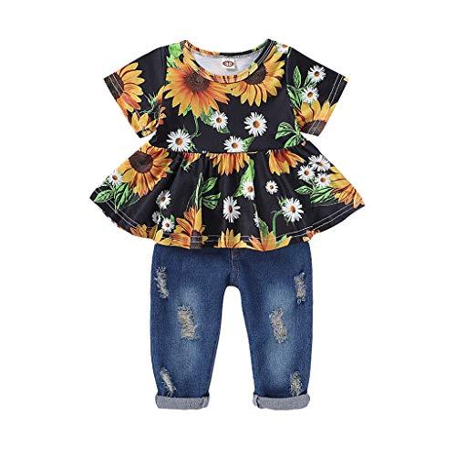 sunnymi Baby Kleidung Mädchen Sommer Bekleidungssets,0-3 Jahre Baby Kids Mädchen Kurzarm Sonnenblume T-Shirt Tops + Ripped Jean Pants Outfits