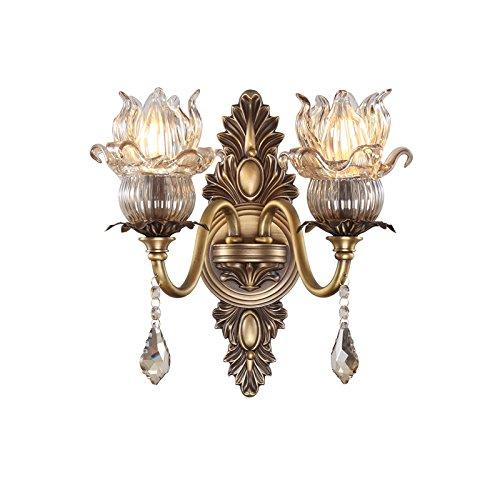 ZWL Retro Pure Copper Crystal Toilettes Living Room Lampadaire Lampes de chevet, créative E14 Double Head 38 * 33CM Etude Balcon Aixle Corridor Lampe murale Home Lighting Lampes décoratives et lanternes mode ( taille : 38*33CM )