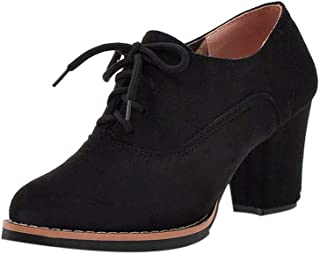 Kauneus Womens Solid Suede Chunky Mid Heel Lace Up Ankle Boot Round Toe Autumn Winter Classic Fashion Booties
