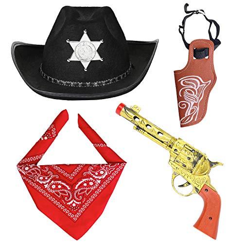 Haichen Accessori Costume da Cowboy Cappello da Cowboy Bandana Pistole Giocattolo con fondine da Cintura Set da Cowboy per Halloween Party Dress Up (Nero)