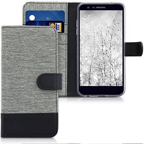 Preisvergleich Produktbild kwmobile Hülle kompatibel mit LG K11 / K11+ / K10 (2018) - Kunstleder Wallet Case mit Kartenfächern Stand in Grau Schwarz