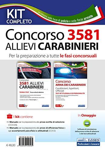 Kit completo concorso 3581 allievi carabinieri. Per la preparazione a tutte le fasi concorsuali. Con software di simulazione