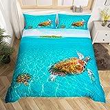 Loussiesd Blue Ocean Bettbezug-Set für Einzelbett, 3D-Schildkröten-Bettwäsche-Set, Hawaii, Meer, Strand, dekorativer Mikrofaser-Bettbezug mit 1 Kissenbezug, blau, 2-teilig für Kinder & Mädchen