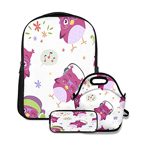 OcuteO Blue Owl Seamless Pattern Laptop Backpack Set Matching Insulated Lunch Box And Pen Case For Women Teen Girls Boys Kids 3 In 1