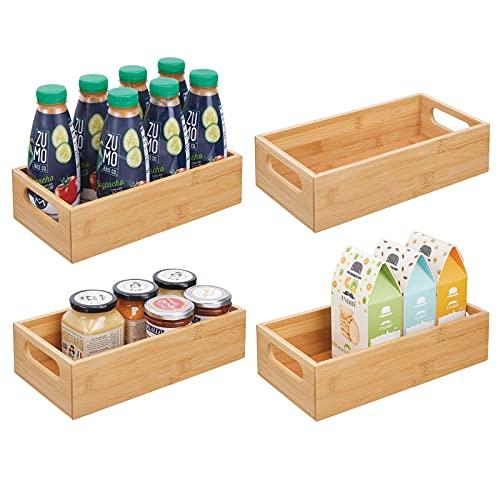 mDesign Juego de 4 Cajas organizadoras con Asas – Práctico cajón de Madera para almacenar Alimentos, Especias, nueces o Botellas – Organizador de Cocina Abierto en Madera de bambú – Color Natural