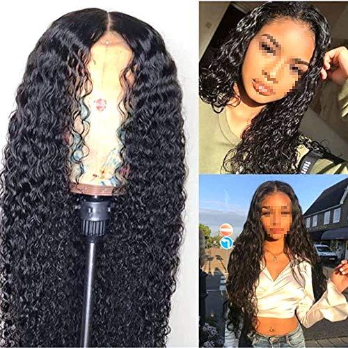 SAHAPA Wig Perücke, Full Lace Wig Perücke Echthaar Glatt Brazilian Human Hair Wig Natural Hairline Echte Haare Perücke Full Lace für Damen,24inch
