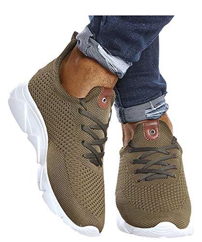 Leif Nelson Herren Schuhe für Freizeit Sport Freizeitschuhe Männer weiße Sneaker Sommer Coole Elegante Sommerschuhe Sportschuhe Weiße Schuhe für Jungen Winterschuhe Halbschuhe LN205 40 Khaki