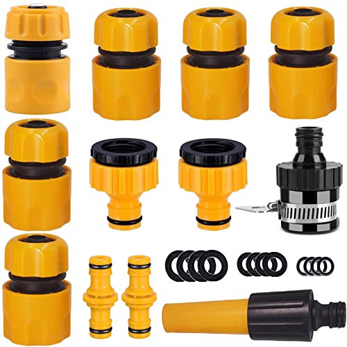 EUHUYG Hose Connector Garden Hose Fitting Set.1Nozzle,5 Hose End Quick Connector,1Hose Waterstop Connector,2 Double Male Snap Connector,2 Hose Tap Connector 1/2 Inch and3/4 Inch Size 2-in-1etc