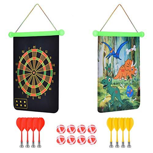 Cozywind Magnetische Dartscheibe Dartboard Dartspiel Set Sicherheit für Kinder Erwachsene Freizeit Sport mit 8 Dartpfeile und 8 Bällen, Doppelseitige Magnet Dart für drinnen und draußen (Grün)