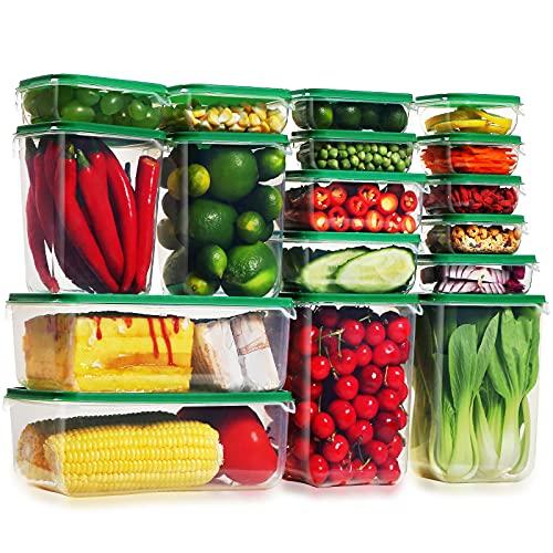 Lockcoo Set di contenitori per Alimenti con coperchi, 17 Pezzi Contenitori Piazza di Plastica per Cucina Senza BPA, Adatto per lavastoviglie, microonde e congelatore (Rettangolare)