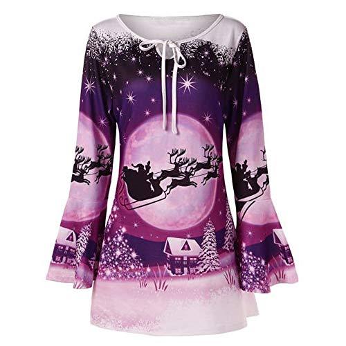 LANSKIRT Mode Frauen Frohe Weihnachten Plus Size Flare Sleeve Print T-Shirt Tops Bluse (XXXXXL, Lila)