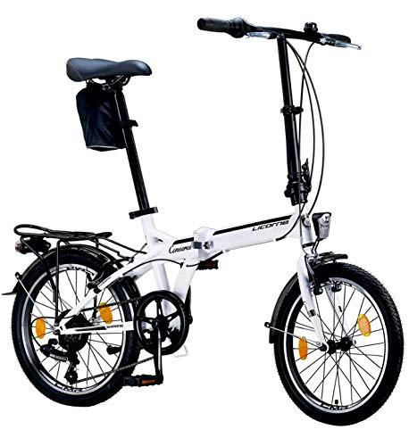 Licorne Bike Bicicleta plegable prémium de 20 pulgadas, para hombres, niños, niñas y mujeres, cambio Shimano de 6 velocidades, bicicleta holandesa, Conser, blanco/negro