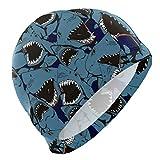 ALINLO Gorro de natación vintage con diseño de tiburón de océano, con dibujos animados divertidos, impermeable, para adultos, hombres, jóvenes y niños