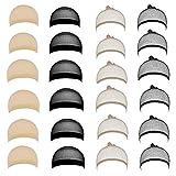JZK 24 x Nera & carne retina parrucca color carne e nera calza retina per capelli parrucca rete calza cuffie per parrucca