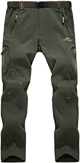 Men's Winter Pants Windproof Fleece-Lined Softshell Hiking Snowboard Pants