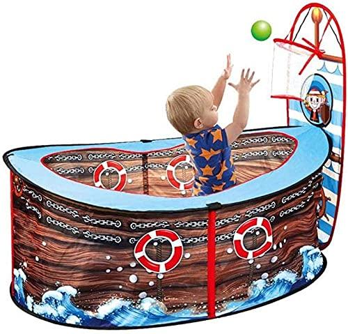 SHWYSHOP Kid Ball Pit Pirate Ship Pool Carpa con aro de Baloncesto - Play Pop Up Tent Interior Toy House Game Valla para niños Nursery (Presente)