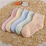 5 par/Lote de Calcetines de algodón para niños, niñas, bebés, bebés, ultrafinos, Calcetines de Malla sólida Transpirables a la Moda para Verano, 1-12T, Adolescentes, chico-a11-M (3-5 Years)