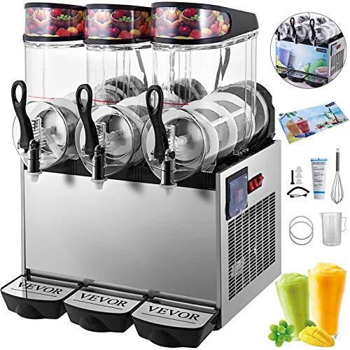 HuSuper SC-3 36L Kommerziell Slusheis Maschine Eismaschine 900W 3 Tanks Slushgerät Frozen Drink Slush Maker Slushy Juice für den Saft Tee Kaffee
