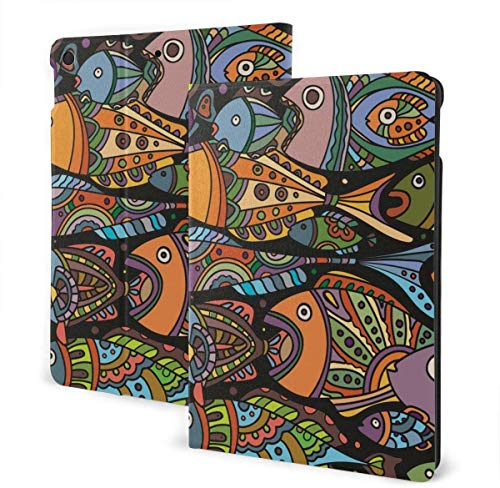 Hello Tree Frog Case for Ipad Air 3rd Gen 10.5' 2019 / Ipad Pro 10.5' 2017 Multi-Angle Folio Stand Auto Sleep/Wake for Ipad 10.5 Inch Tablet-Hexagon With Water Color Marble Grunge Textures-One Size