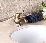 HPPSLT Grifo de baño Cuenca del Grifo del Lavabo Grifo Antiguo Sola Manija Solo Agujero Sentado Baño Caliente Y Fría Demasiado Lleno Retro del Cobre Grifo de Lavabo