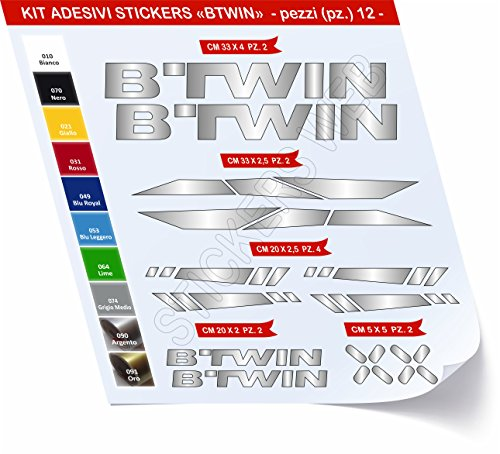 Pimastickerslab sticker voor fietsen BTWIN_Kit 2_Kit sticker sticker 12 stuks -Scegli SUBITO Colore- Bike Cycle Pegatina cod.0480