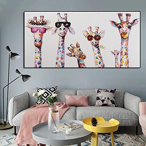 N / A Graffiti Art Animal Canvas Painting Curious Giraffes Family Poster Prints Imagen Decorativa para la habitación de los niños Decoración del hogar Sin Marco 60x120CM SIN Marco