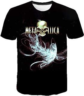 Camiseta de música para Hombre, Camiseta de Manga Corta con Cuello Redondo Impresa en 3D, Estampado de patrón de Guitarra, Top de Metal