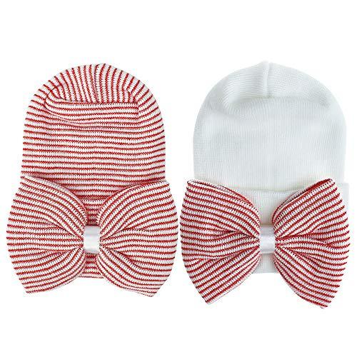 MASOCIO Gorro Bebe Recien Nacido 0-3 Meses Invierno Algodon Punto Gorros Sombrero Bebé con Bowknot Rojo Blanco (Paquete de 2)