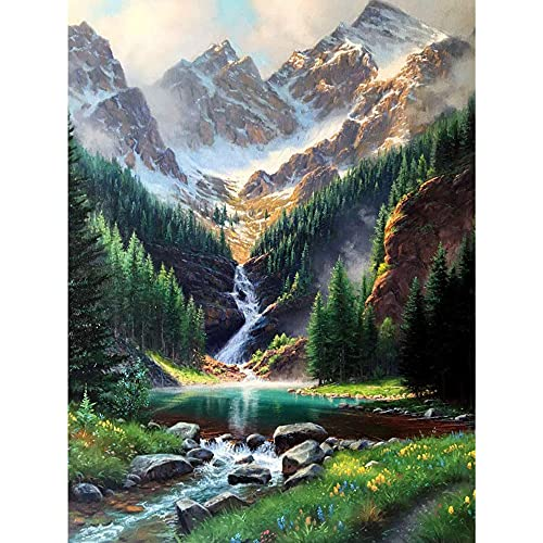 LELEMON 5D Diamond Painting Kit for Adults Full Round Drill Rhinestone Embroidery Nature Waterfall Paint Art for Summer Scenery 16x12IN