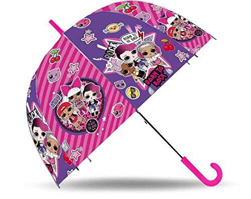 LOL SURPRISE Paraguas Transparente Campana 19'' Manual Fibra Vidrio Acampada y Senderismo Infantil, Juventud Unisex, Multicolor (Multicolor), Talla Única