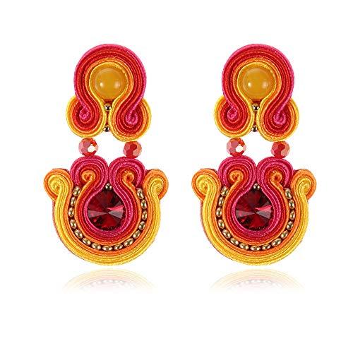 Ethnic Style Leather Drop Earrings Fashion Jewelry Women Soutache Handmade Weaving Big Hanging Earring Party Oorbellen