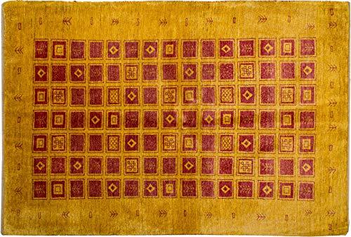 Lifetex.eu Hochwertiger Orientteppich Kashkuli-Muster (ca. 110x160 cm) Klassisch handgeknüpft Schurwolle Gelb Teppich