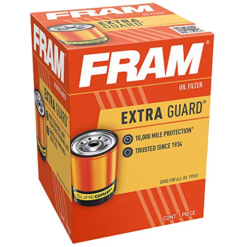 FRAM Extra Guard PH4967, 10K Mile Change Interval Spin-On Oil Filter, black