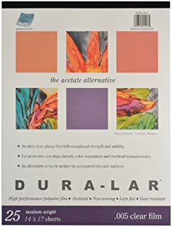 Grafix Clear 0.005 Dura-Lar Film, 14-Inch by 17-Inch, 25 Sheets