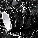 Fantasnight Marmol Vinilos para Muebles Papel Adhesivo 40×300cm Negro Marmol Rayas Grises Papel para Encimeras de Cocina, Mesas, Superficies de Gabinetes, Paredes