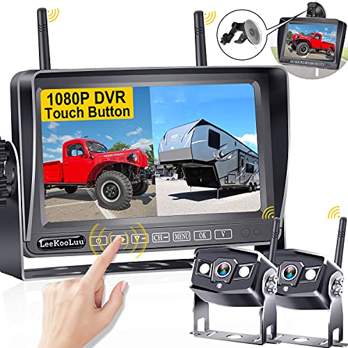 RV Wireless Backup Cameras HD 1080P LeeKooLuu 7 Inch DVR Monitor High-Speed Rear View Observation System Adapter Compatible with Furrion Pre-wired RVs,Trailers,Campers,5th Wheels,IR Night Vision LK9