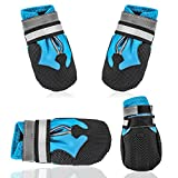 AblePet Dog Waterproof Boots Shoes Anti-Slip Booties, with Adjustable Strap and Reflective Strip, Premium Paw Protector Fit for Medium and Large Dogs(4Pcs)