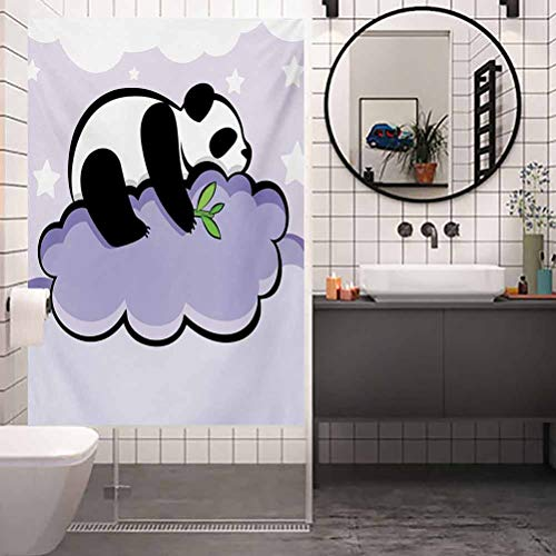 Privacy Home Decor Decorative Stained Glass Window Film, Panda Panda Bear Sleeping on Cloud in Starry Night Sky, Privacy Glass Film for Home &Office, W23.6xH35.4 Inch