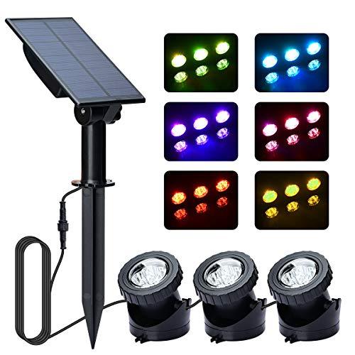 Solar Teichbeleuchtung Unterwasser,Lyche 3 RGB Solarspots Unterwasserleuchten 18 LEDs Solar mit 4 Lichtmodi Lichtsensor für Teich or Garten, Automatische Ein/Ausschaltung, IP68 Wasserdicht