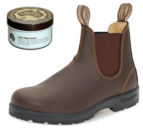 Blundstone Style 550 Classic Comfort Chelsea Boots Unisex Stiefelette + 250 ml Lederpflege | Walnut Brown | UK 7.0 / EU 41.0