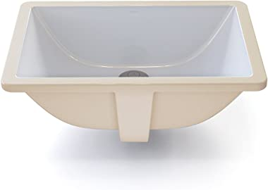 DECOLAV 1402-CWH Callensia Classically Redefined Rectangular Vitreous China Undermount Lavatory Sink with Overflow, White