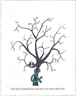 AUNMAS DIY Novela Personalizada Huella Digital Árbol de Huellas Dactilares Árbol de Huellas Dactilares Cartel para la Boda Decoración de la Fiesta de Cumpleaños(3#)