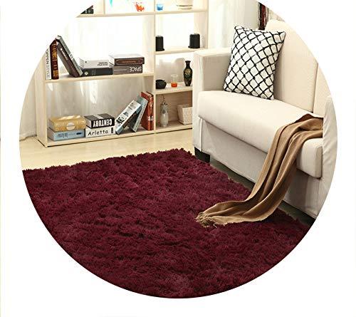 Super Soft Silk Wool Rug Indoor Modern Shag Area Rug Silky Rugs,Burgundy,40X60cm